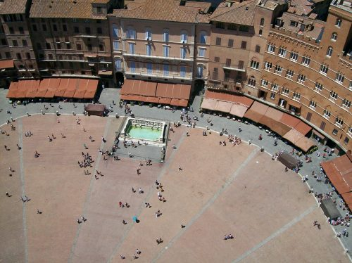 Central square in Siena from tower Mangia
